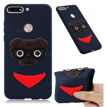 Glasses Dog Soft 3D Silicone Case for Huawei Y7(2018) - Navy