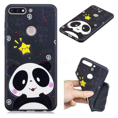 Cute Bear 3D Embossed Relief Black TPU Cell Phone Back Cover for Huawei Y7(2018)