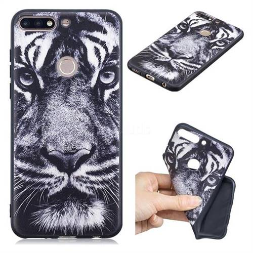 White Tiger 3D Embossed Relief Black TPU Cell Phone Back Cover for Huawei Y7(2018)