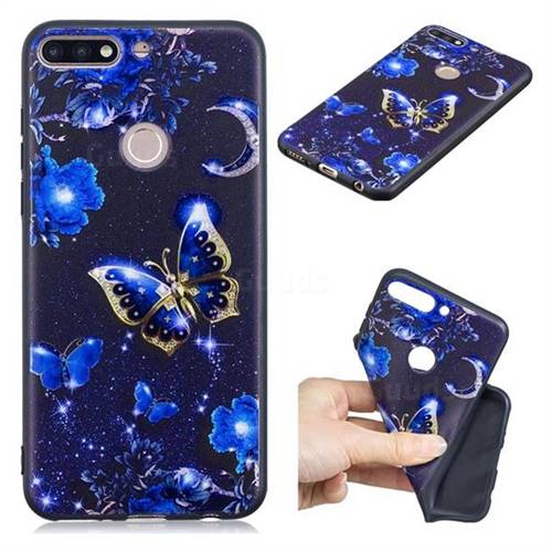 Phnom Penh Butterfly 3D Embossed Relief Black TPU Cell Phone Back Cover for Huawei Y7(2018)