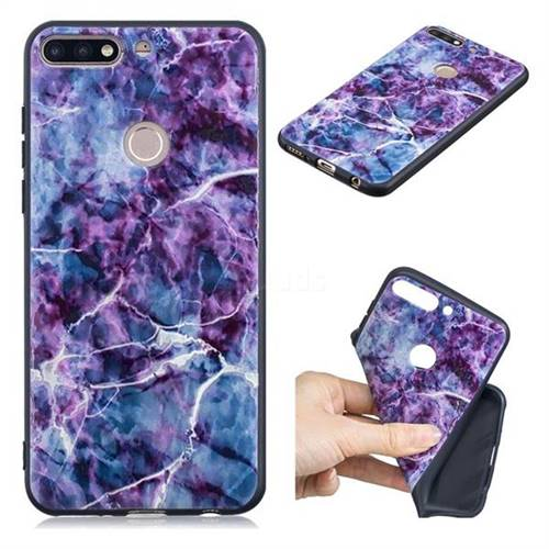 Marble 3D Embossed Relief Black TPU Cell Phone Back Cover for Huawei Y7(2018)