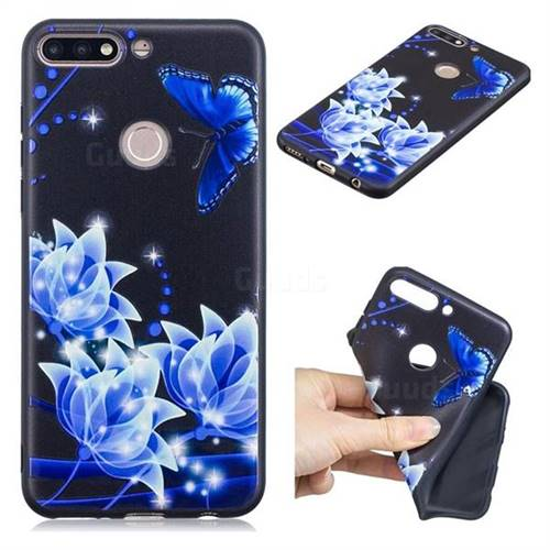 Blue Butterfly 3D Embossed Relief Black TPU Cell Phone Back Cover for Huawei Y7(2018)