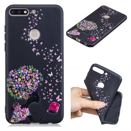 Corolla Girl 3D Embossed Relief Black TPU Cell Phone Back Cover for Huawei Y7(2018)