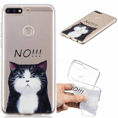 No Cat Clear Varnish Soft Phone Back Cover for Huawei Y7(2018)