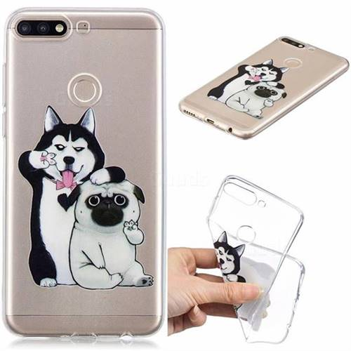 Selfie Dog Clear Varnish Soft Phone Back Cover for Huawei Y7(2018)