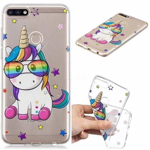 Glasses Unicorn Clear Varnish Soft Phone Back Cover for Huawei Y7(2018)
