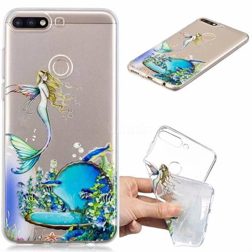 Mermaid Clear Varnish Soft Phone Back Cover for Huawei Y7(2018)