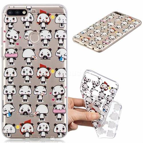 Mini Panda Clear Varnish Soft Phone Back Cover for Huawei Y7(2018)