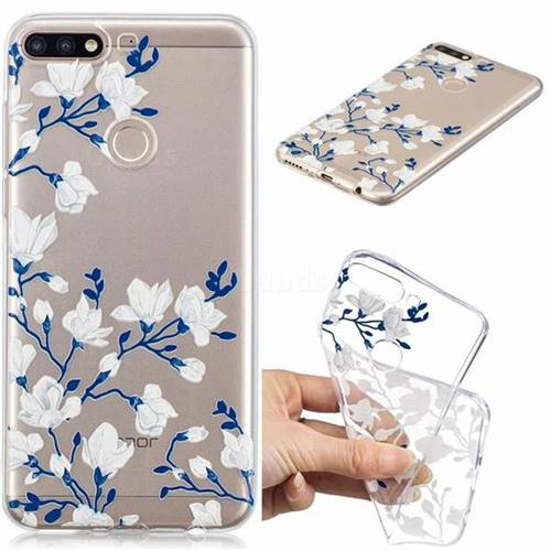 Magnolia Flower Clear Varnish Soft Phone Back Cover for Huawei Y7(2018)
