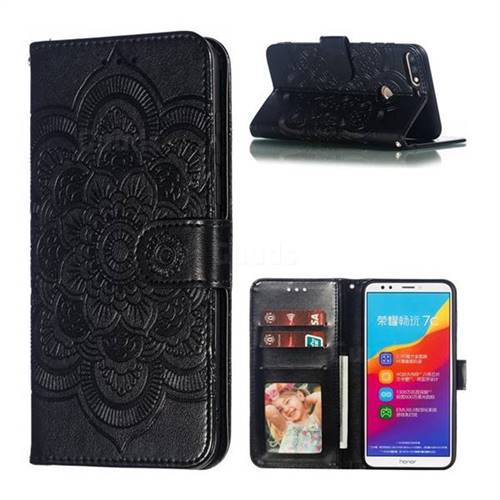 Intricate Embossing Datura Solar Leather Wallet Case for Huawei Y7(2018) - Black