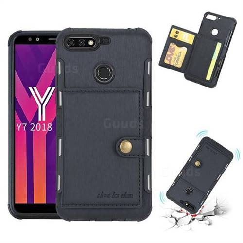 Brush Multi-function Leather Phone Case for Huawei Y7(2018) - Black