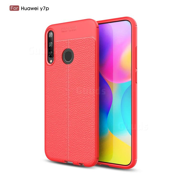 Luxury Auto Focus Litchi Texture Silicone TPU Back Cover for Huawei Y7p - Red