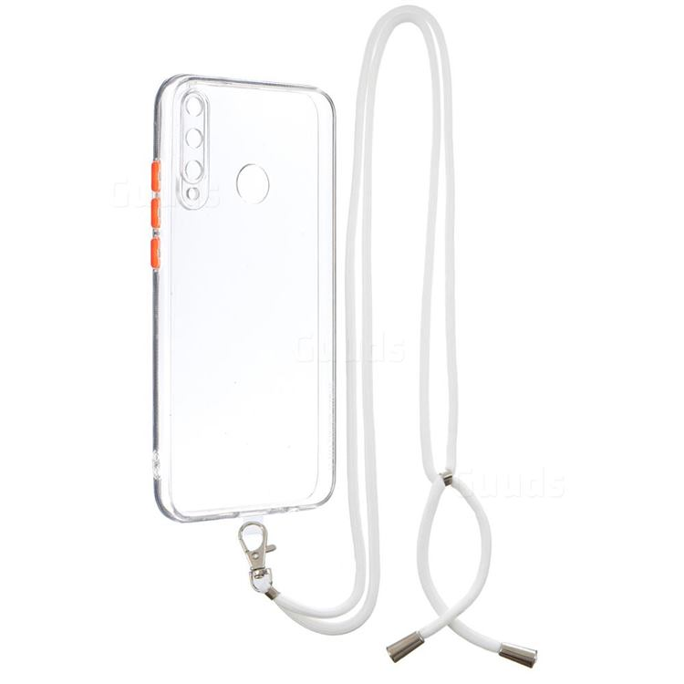 Necklace Cross-body Lanyard Strap Cord Phone Case Cover for Huawei Y7p - Transparent