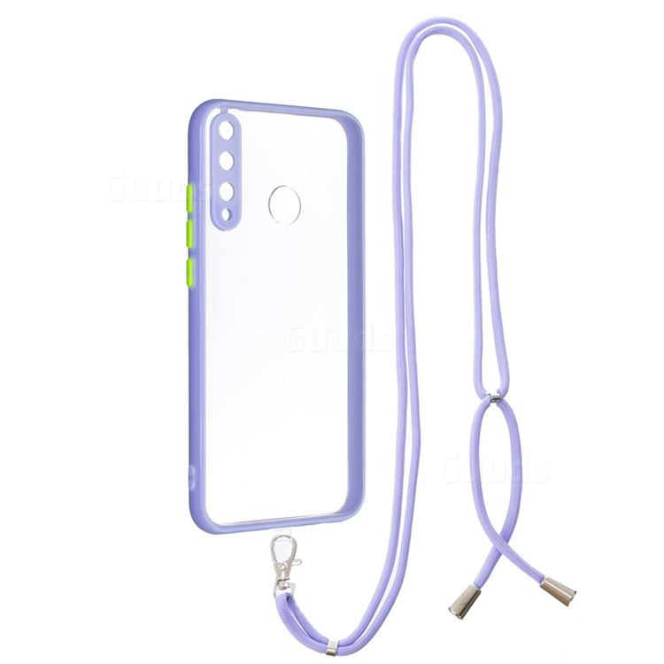 Necklace Cross-body Lanyard Strap Cord Phone Case Cover for Huawei Y7p - Purple