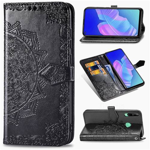 Embossing Imprint Mandala Flower Leather Wallet Case for Huawei Y7p - Black