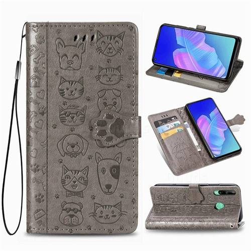 Embossing Dog Paw Kitten and Puppy Leather Wallet Case for Huawei Y7p - Gray