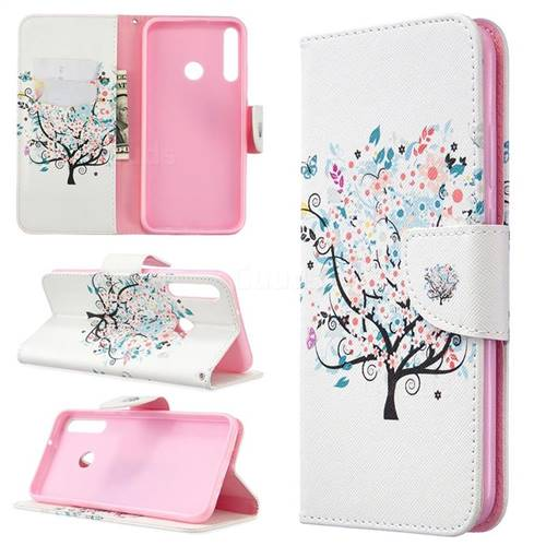 Colorful Tree Leather Wallet Case for Huawei Y7p