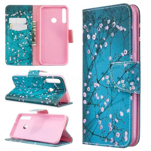 Blue Plum Leather Wallet Case for Huawei Y7p