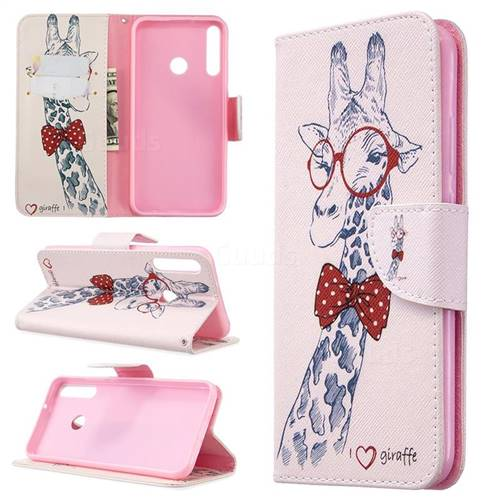Glasses Giraffe Leather Wallet Case for Huawei Y7p