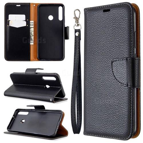 Classic Luxury Litchi Leather Phone Wallet Case for Huawei Y7p - Black