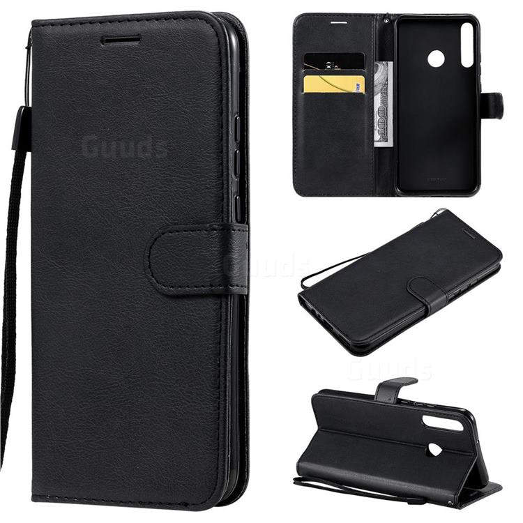 Retro Greek Classic Smooth PU Leather Wallet Phone Case for Huawei Y7p - Black