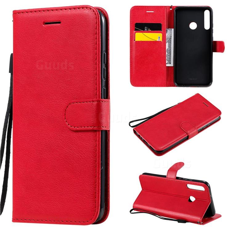 Retro Greek Classic Smooth PU Leather Wallet Phone Case for Huawei Y7p - Red