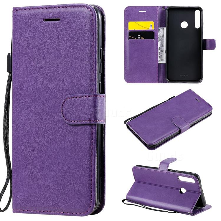 Retro Greek Classic Smooth PU Leather Wallet Phone Case for Huawei Y7p - Purple