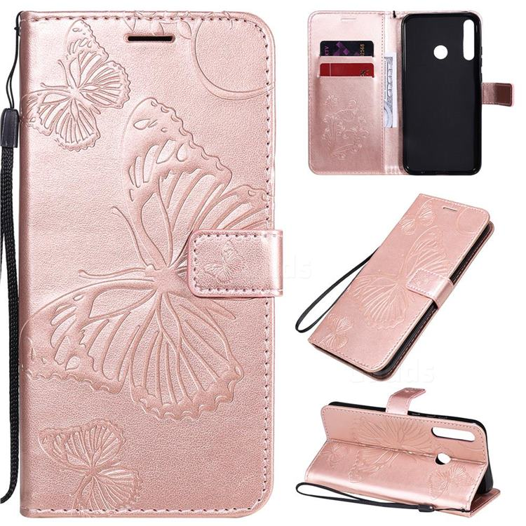 Embossing 3D Butterfly Leather Wallet Case for Huawei Y7p - Rose Gold