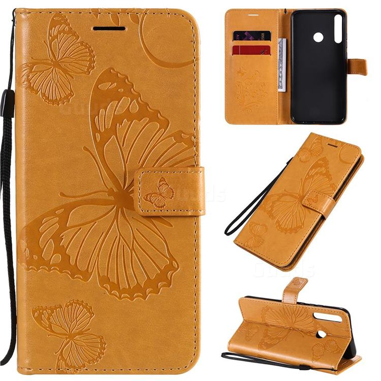 Embossing 3D Butterfly Leather Wallet Case for Huawei Y7p - Yellow