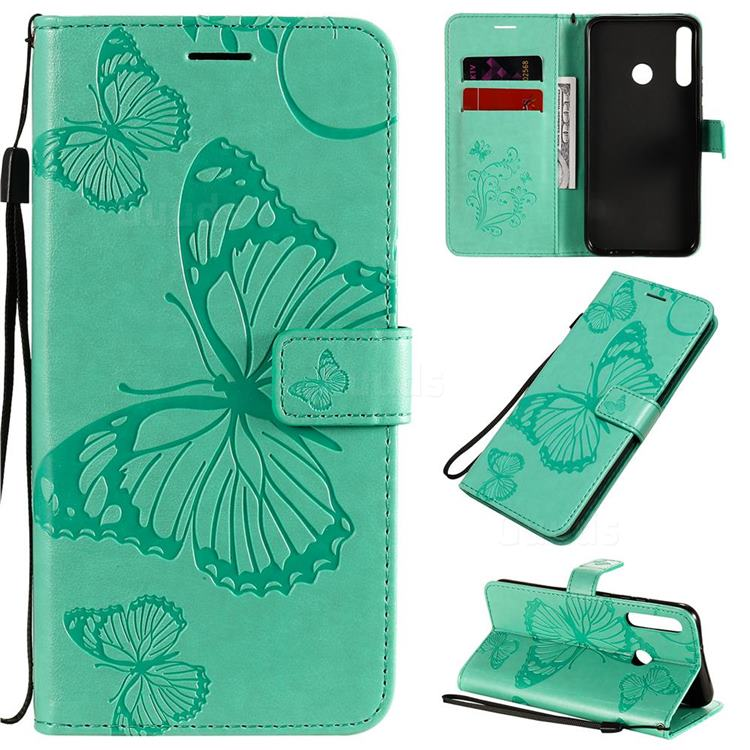 Embossing 3D Butterfly Leather Wallet Case for Huawei Y7p - Green