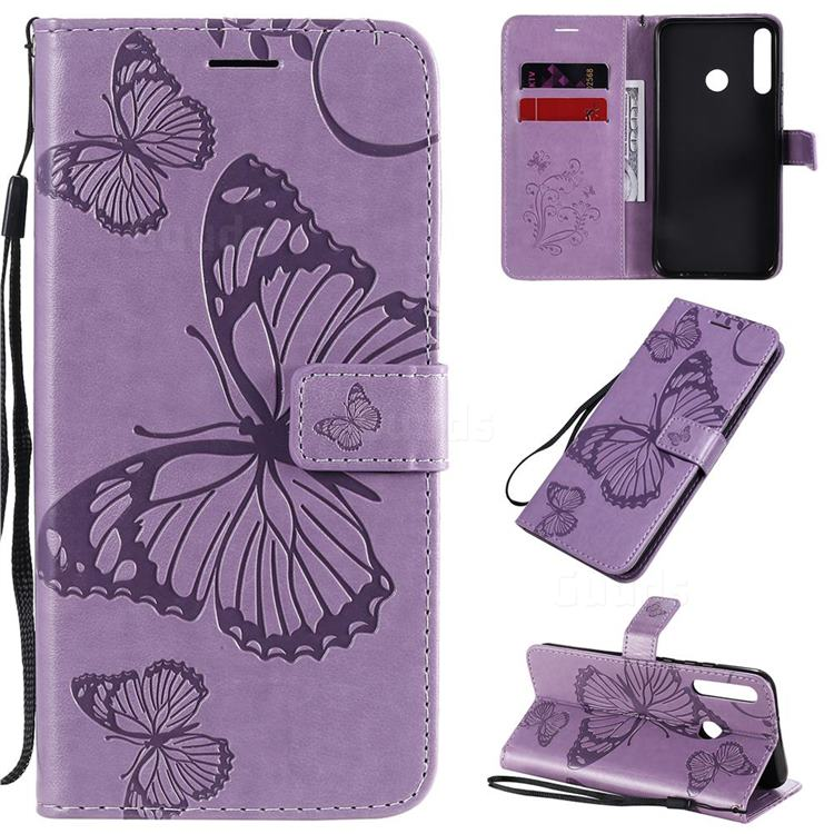 Embossing 3D Butterfly Leather Wallet Case for Huawei Y7p - Purple