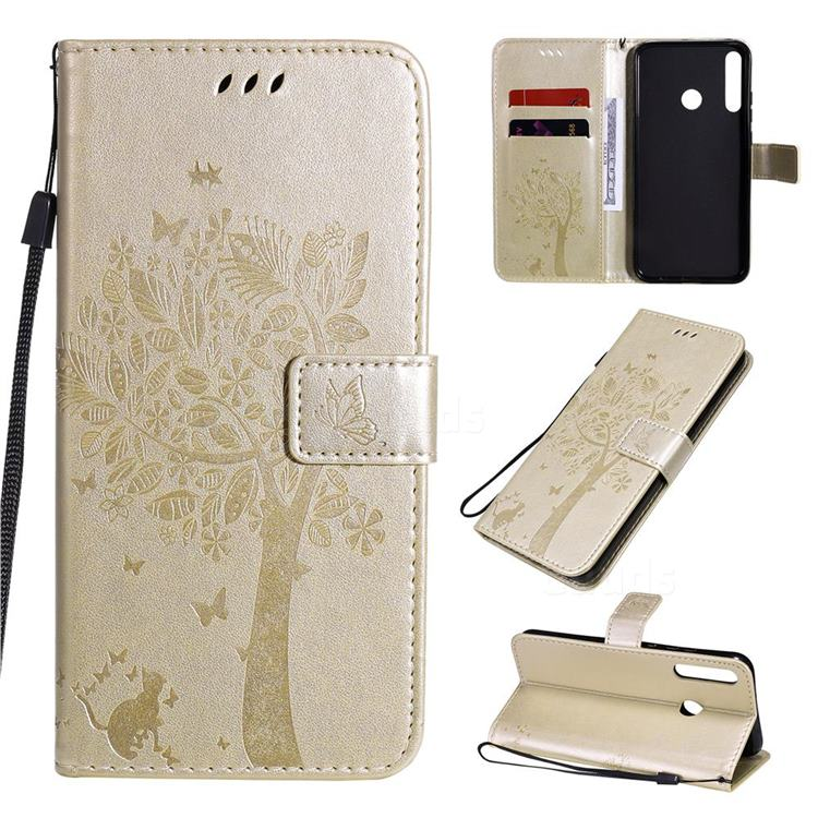 Embossing Butterfly Tree Leather Wallet Case for Huawei Y7p - Champagne