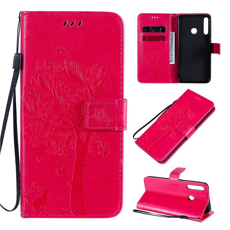 Embossing Butterfly Tree Leather Wallet Case for Huawei Y7p - Rose