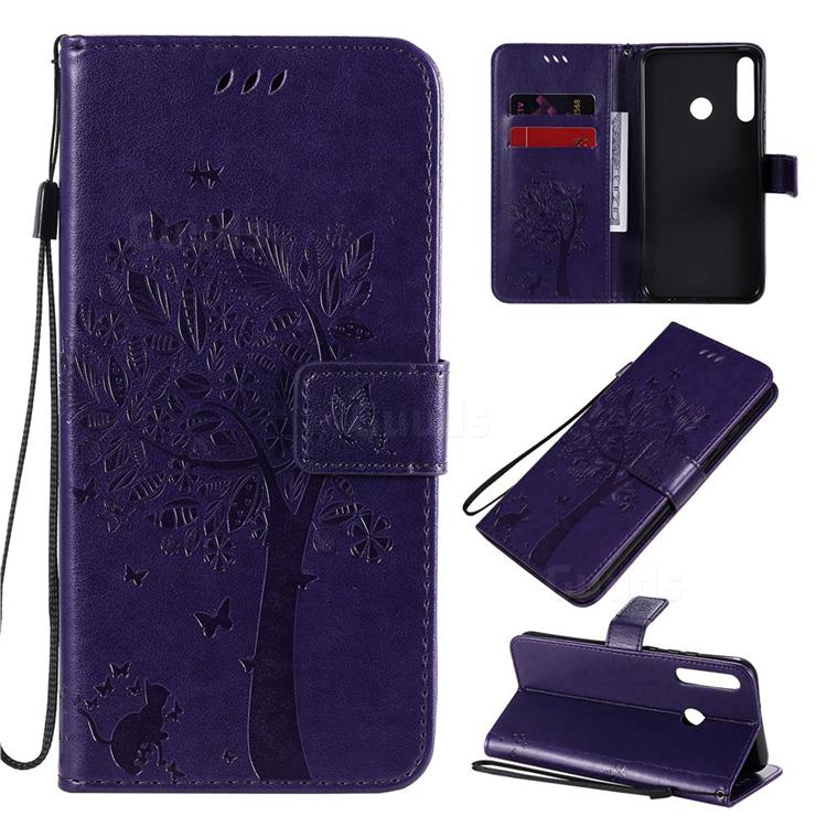 Embossing Butterfly Tree Leather Wallet Case for Huawei Y7p - Purple