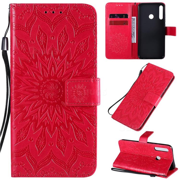 Embossing Sunflower Leather Wallet Case for Huawei Y7p - Red