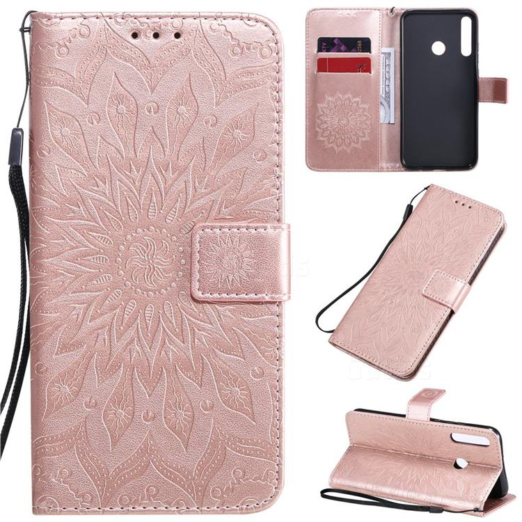 Embossing Sunflower Leather Wallet Case for Huawei Y7p - Rose Gold