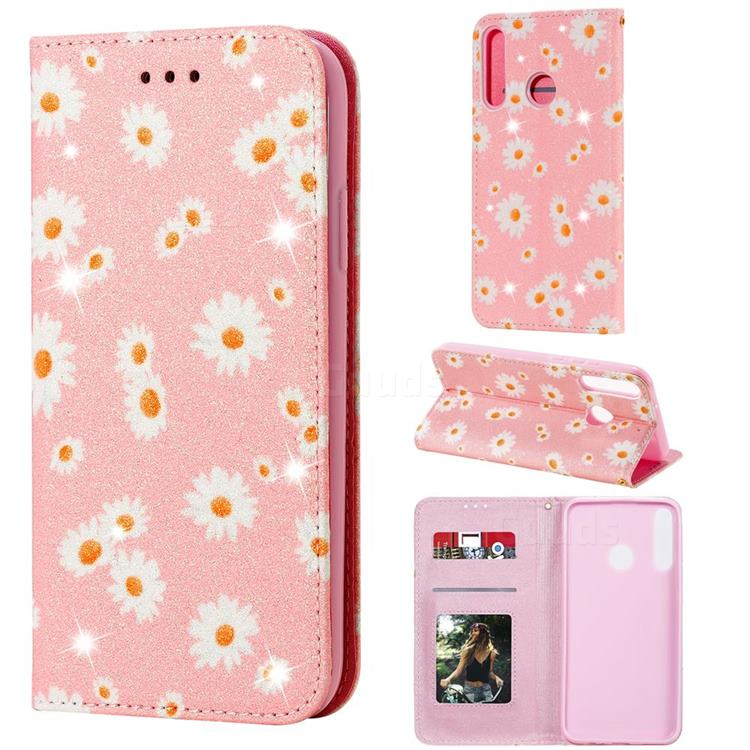 Ultra Slim Daisy Sparkle Glitter Powder Magnetic Leather Wallet Case for Huawei Y7p - Pink