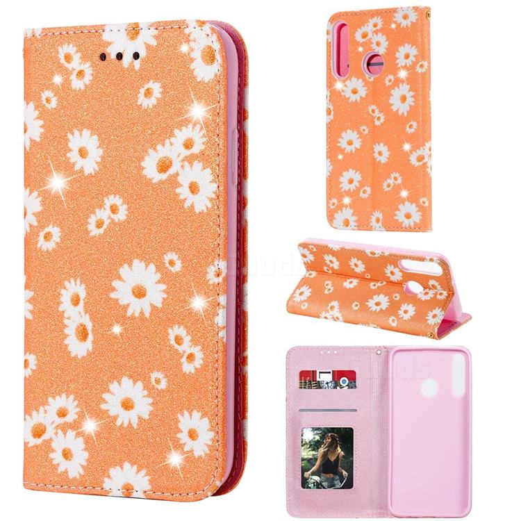 Ultra Slim Daisy Sparkle Glitter Powder Magnetic Leather Wallet Case for Huawei Y7p - Orange