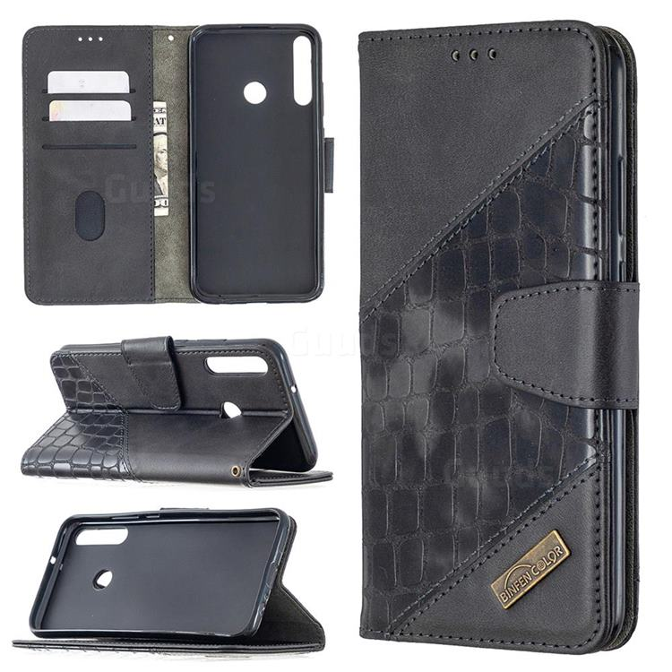 BinfenColor BF04 Color Block Stitching Crocodile Leather Case Cover for Huawei Y7p - Black
