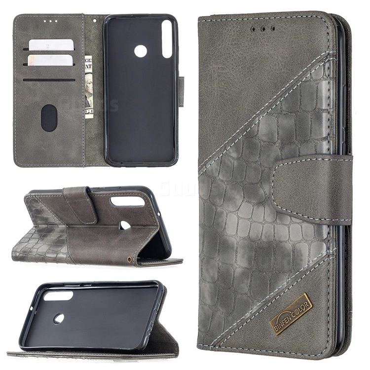 BinfenColor BF04 Color Block Stitching Crocodile Leather Case Cover for Huawei Y7p - Gray