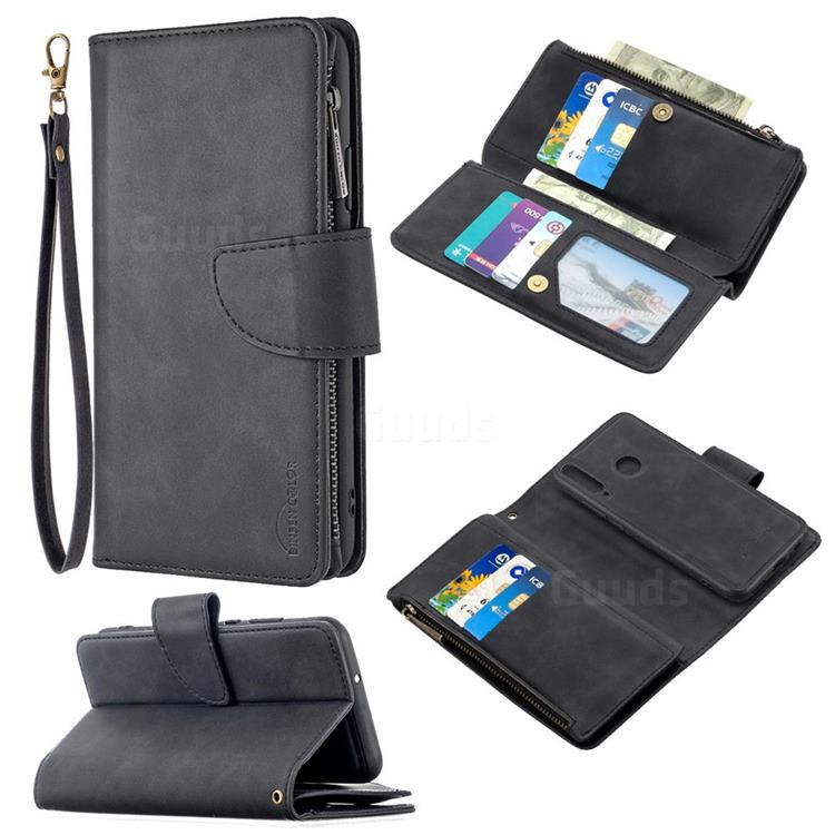 Binfen Color BF02 Sensory Buckle Zipper Multifunction Leather Phone Wallet for Huawei Y7p - Black