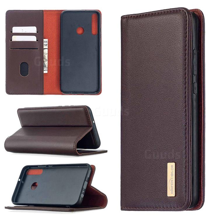 Binfen Color BF06 Luxury Classic Genuine Leather Detachable Magnet Holster Cover for Huawei Y7p - Dark Brown