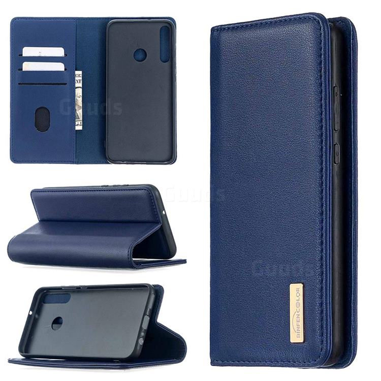 Binfen Color BF06 Luxury Classic Genuine Leather Detachable Magnet Holster Cover for Huawei Y7p - Blue