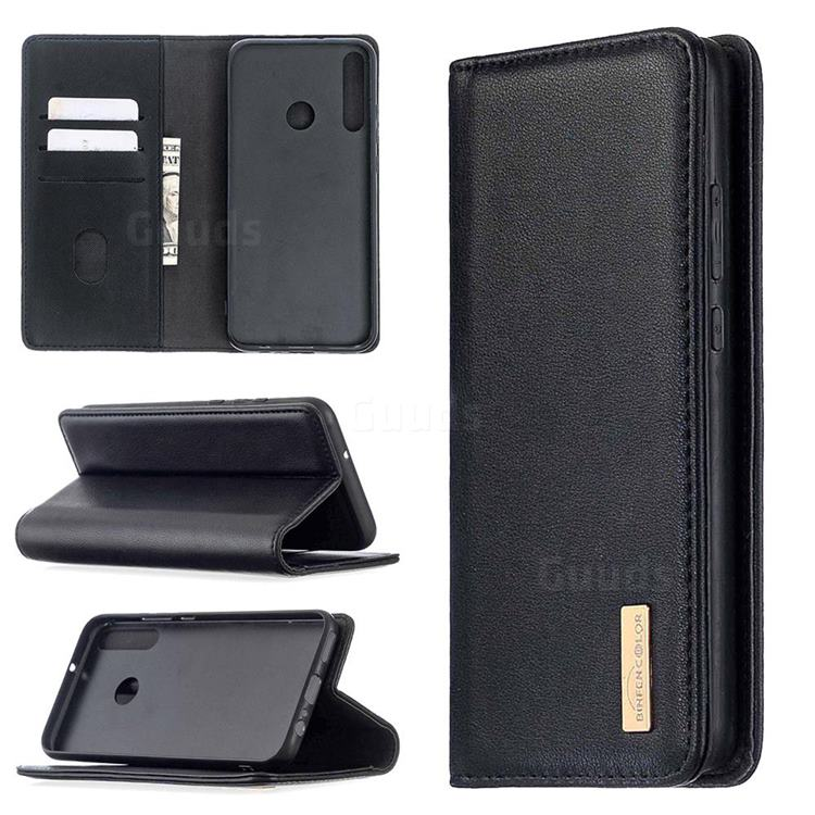 Binfen Color BF06 Luxury Classic Genuine Leather Detachable Magnet Holster Cover for Huawei Y7p - Black