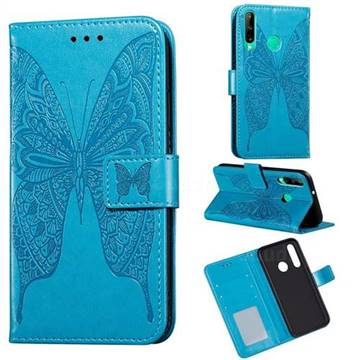Intricate Embossing Vivid Butterfly Leather Wallet Case for Huawei Y7p - Blue