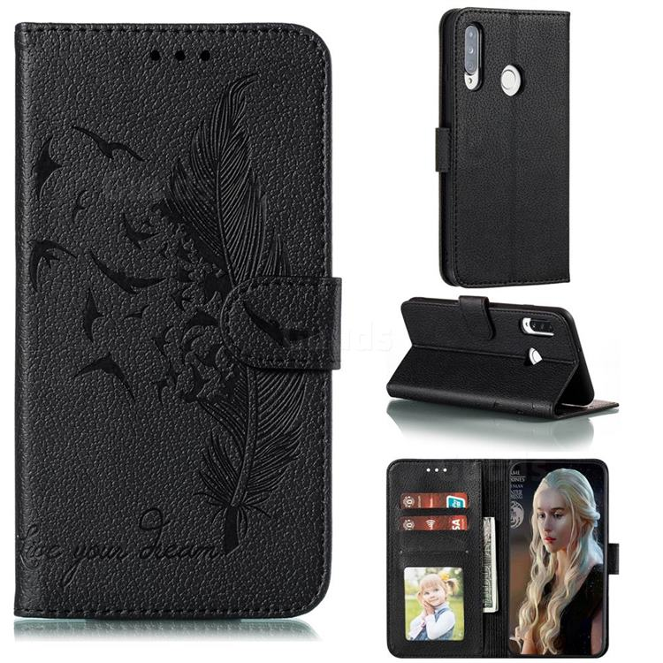 Intricate Embossing Lychee Feather Bird Leather Wallet Case for Huawei Y7p - Black