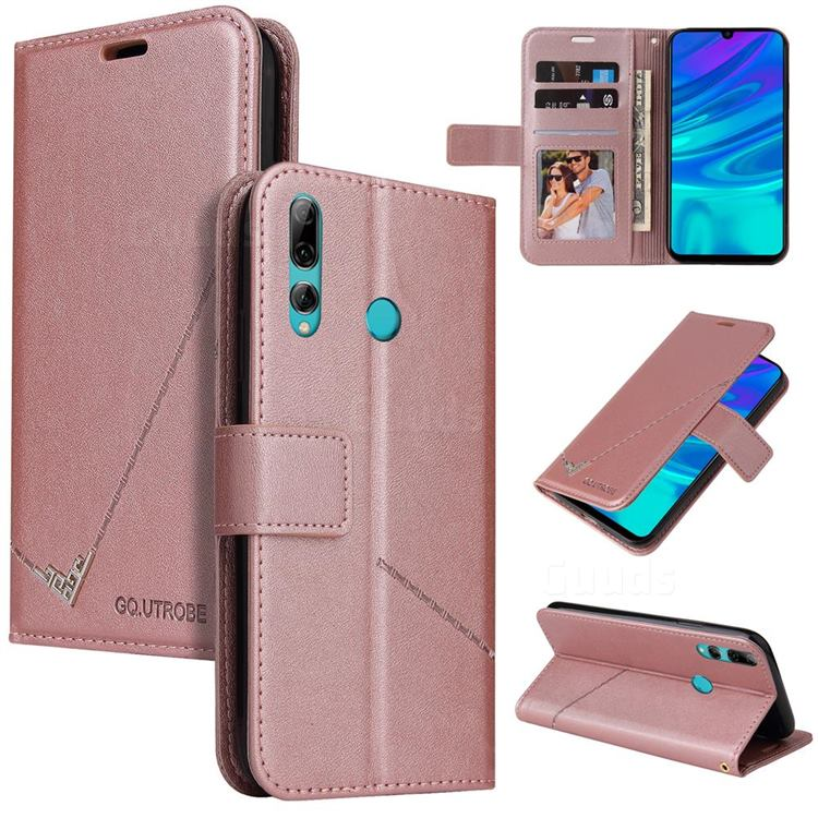 GQ.UTROBE Right Angle Silver Pendant Leather Wallet Phone Case for Huawei Y7p - Rose Gold