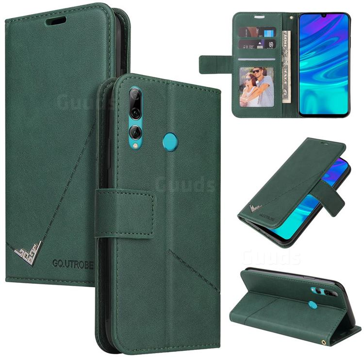 GQ.UTROBE Right Angle Silver Pendant Leather Wallet Phone Case for Huawei Y7p - Green