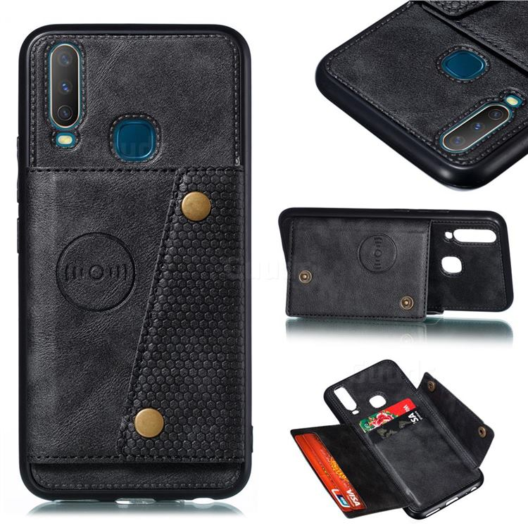 Retro Multifunction Card Slots Stand Leather Coated Phone Back Cover for Huawei Y7p - Black