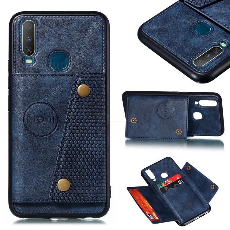 Retro Multifunction Card Slots Stand Leather Coated Phone Back Cover for Huawei Y7p - Blue